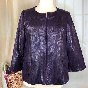 Susan Graver Purple Alligator Print Jacket